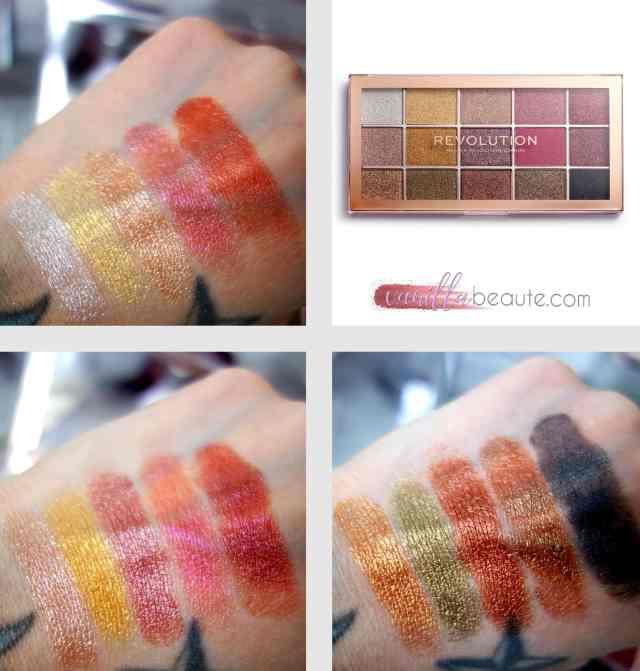 swatch de la palette revolution beauty foil frenzy
