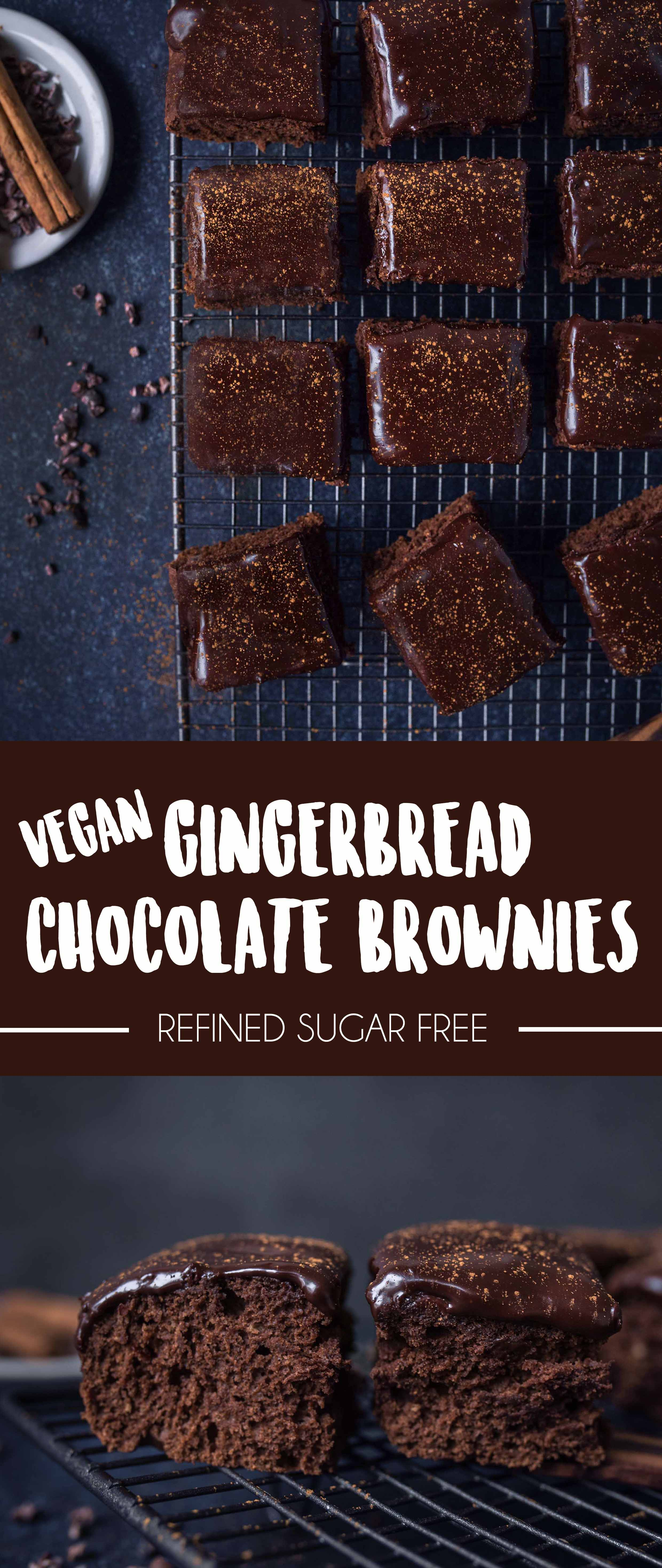 Gingerbread Brownies with a luscious dark chocolate ganache