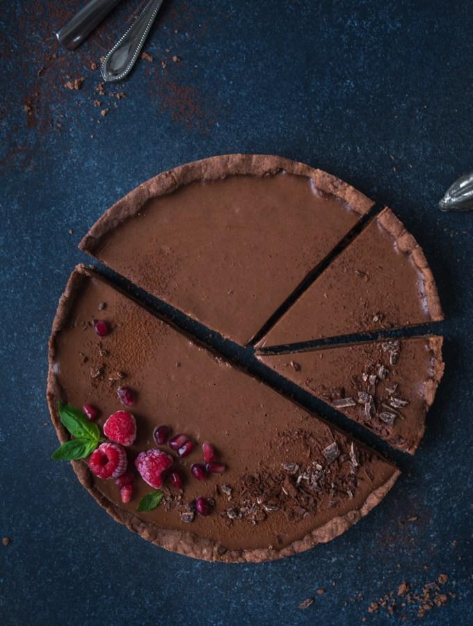 Himmlische vegane Schokoladen Ganache Tart