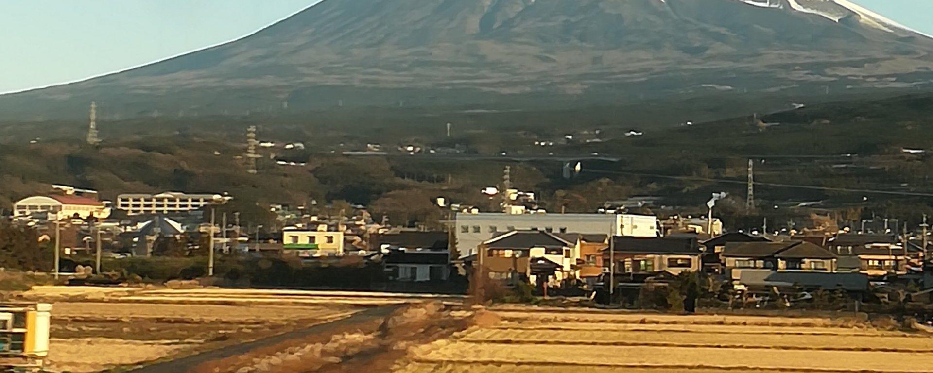 Mt. Fuji view from Shinkansen bullet train after Odawara Kanagawa Japan