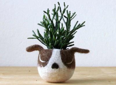 The Yard Kitchen Dog Head Succulent Planter