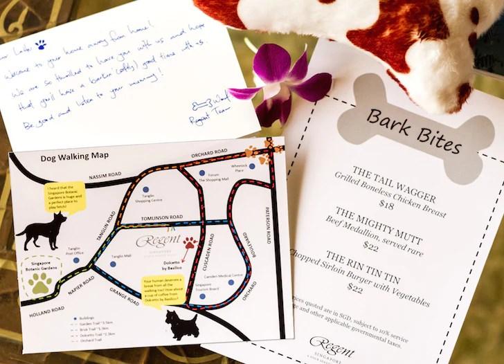 Pet-friendly Regent Singapore Hotel Staycation Dog Walking Map and Dining Menu | Vanillapup