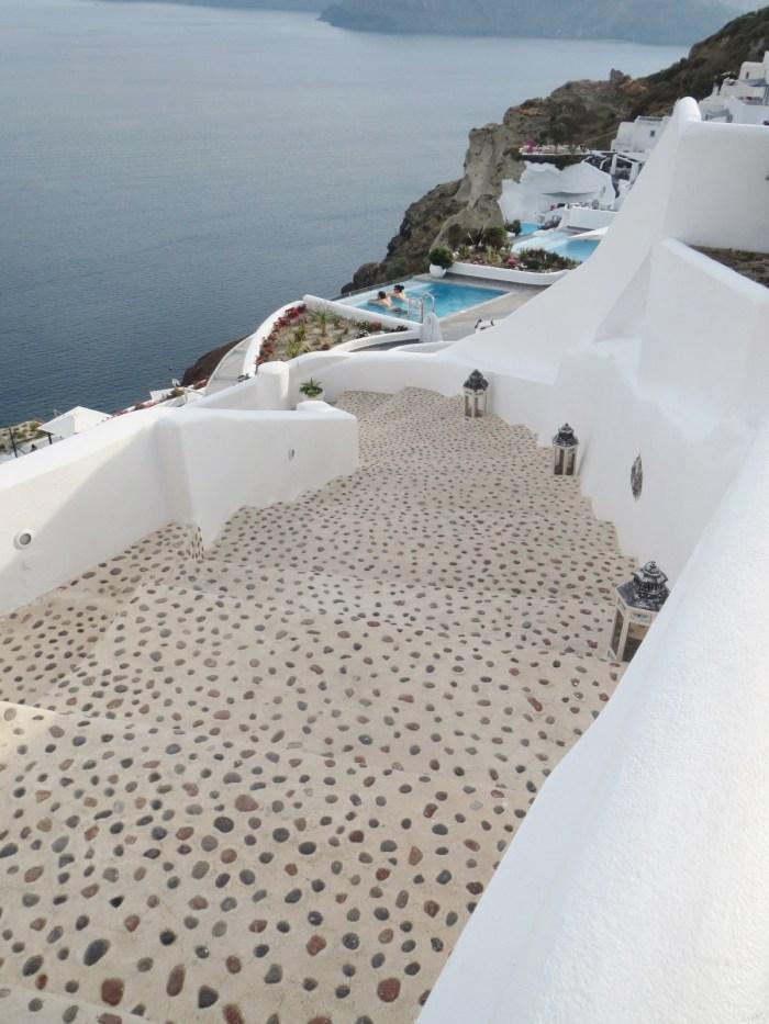 santorini white stairs