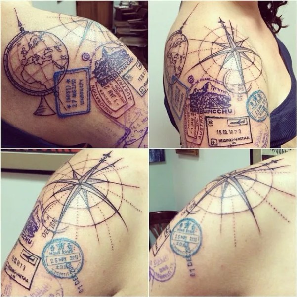 travel passport stamp tattoo