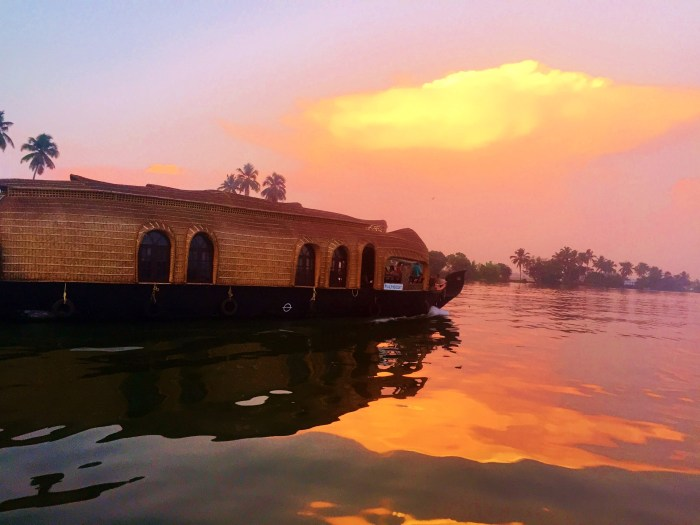 Houseboats In The Backwaters Of Kerala, India