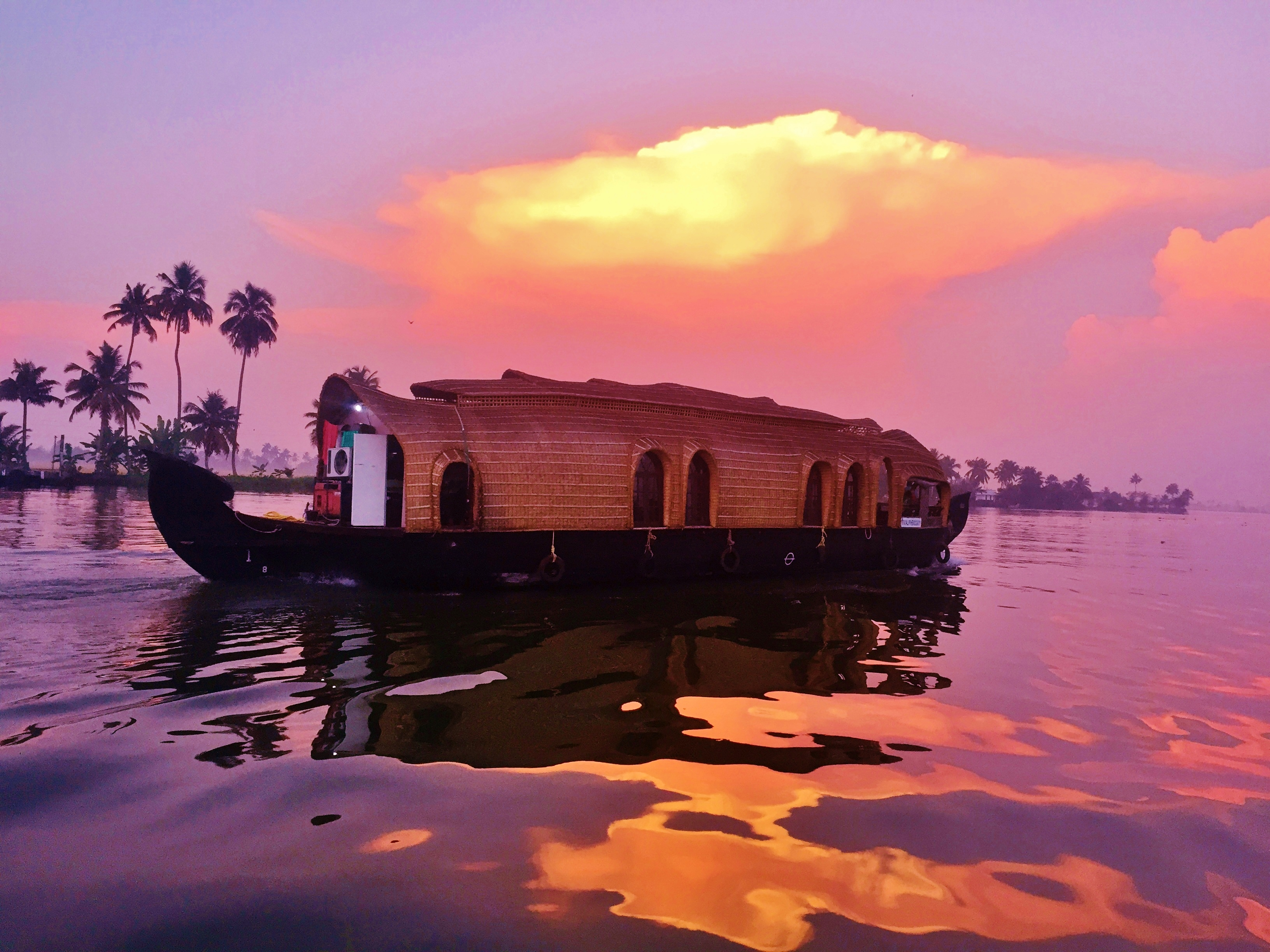 Sleeping On Houseboats In The Backwaters Of Kerala, India