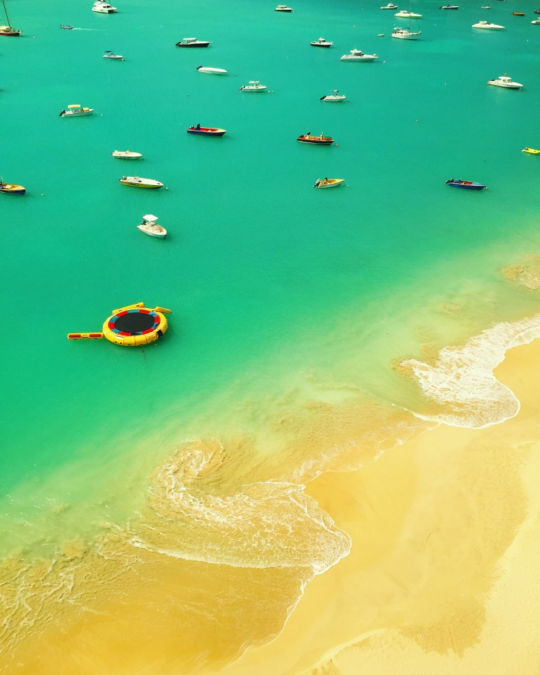 Sailboats in Anguilla bird eye view
