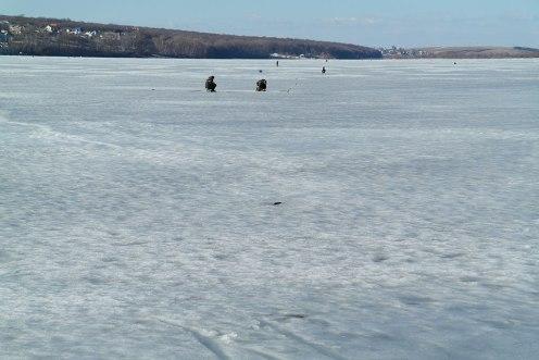 Ternopil - people fishing at the frozen lake