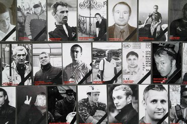 A poster commemorates citizens of Lviv killed during Maidan protests