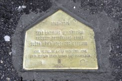 A plaque marks a building where Jews were hidden by Latvians