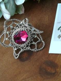 Details Anello con cristalli pregiati perle in vetro placcate argento e base in ottone argentato