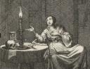vrouw-zittend-aan-een-tafel-waarop-een-brandende-kaars-zandloper-en-een-doodshoofd-jan-luyken-pieter-arentsz-ii-1687