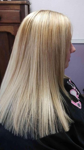 Multidimensional blond with Karatherapy smoothing treatment