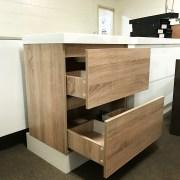 ASTRA Slimline 600mm White Oak Timber Look Wood Grain Vanity with Polymarble Top-18