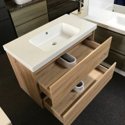 BOGETTA 900mm White Oak | Vanity with Polymarble Top, No Tap Hole