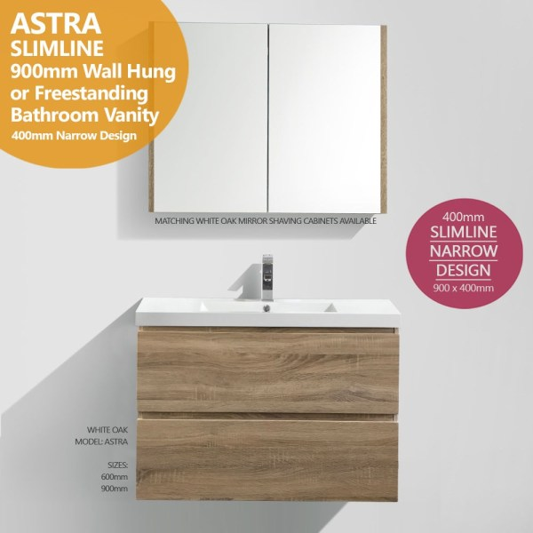 ASTRA-Slimline-900mm-White-Oak-Timber-Wood-Grain-Narrow-Bathroom-Vanity-400mm-252776067790
