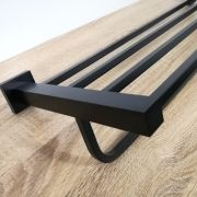 Solid-Brass-MATTE-BLACK-Square-Double-Shelf-Multi-Storage-Towel-Rack-Rail-Holder-252663570470-7