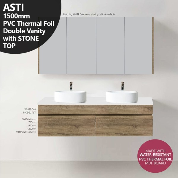 ASTI-1500mm-White-Oak-Timber-Wood-Grain-PVC-THERMAL-FOIL-Vanity-w-Stone-Top-252951605551