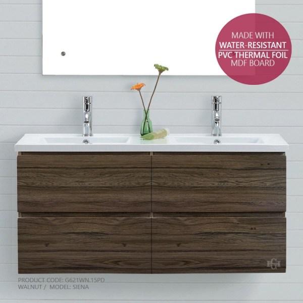 SIENA-1500mm-Walnut-Oak-PVC-THERMAL-FOIL-Timber-Wood-Grain-Double-Vanity-252948291762