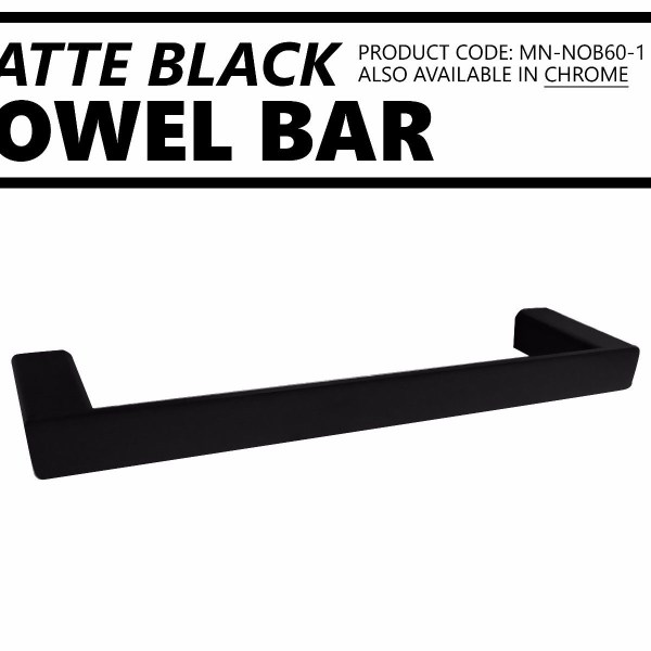 Small-330mm-MATTE-BLACK-Square-Single-Towel-Bar-Rail-Holder-Bathroom-Accessories-252663703042