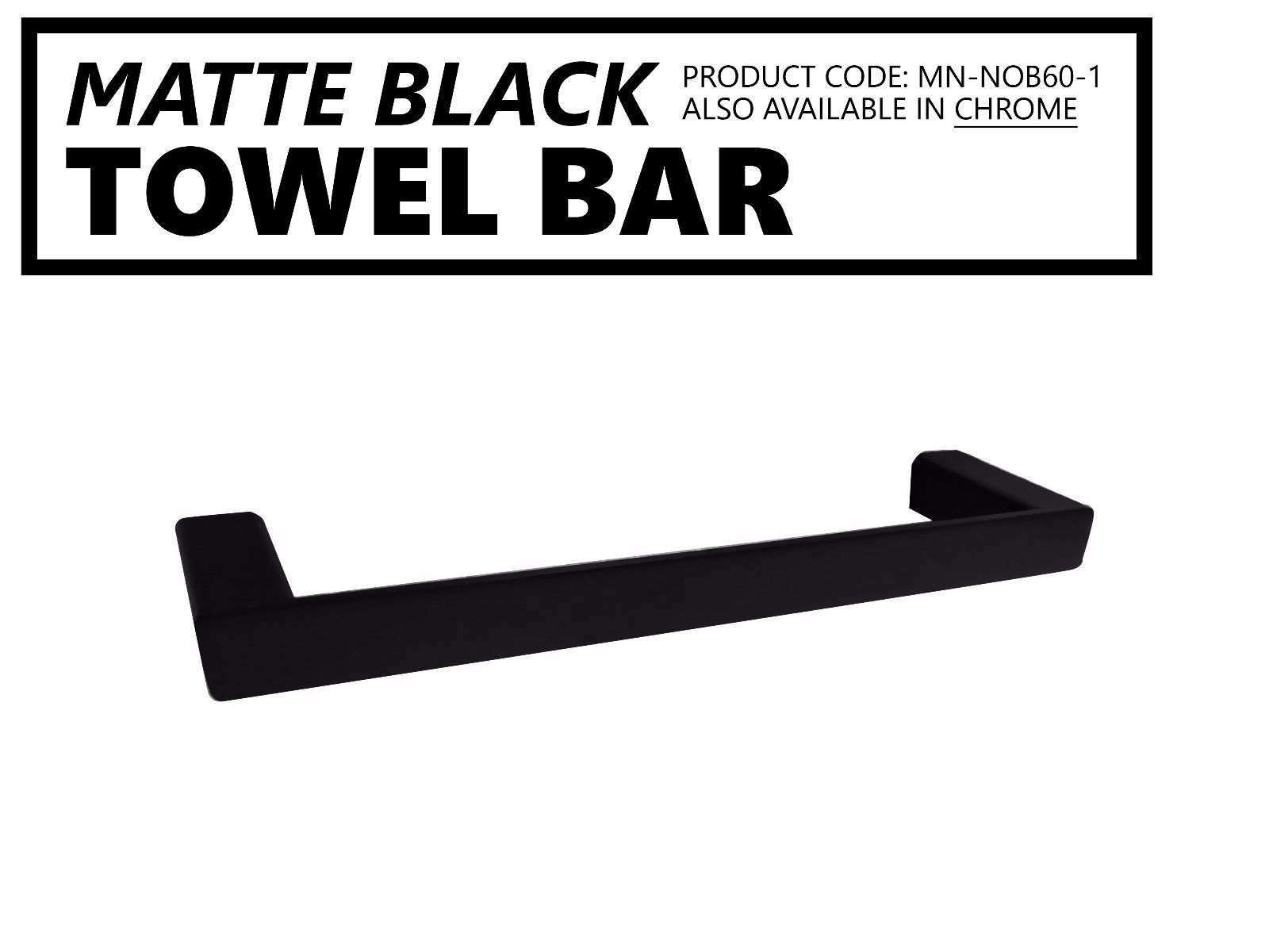 noble 330mm square matte black towel bar