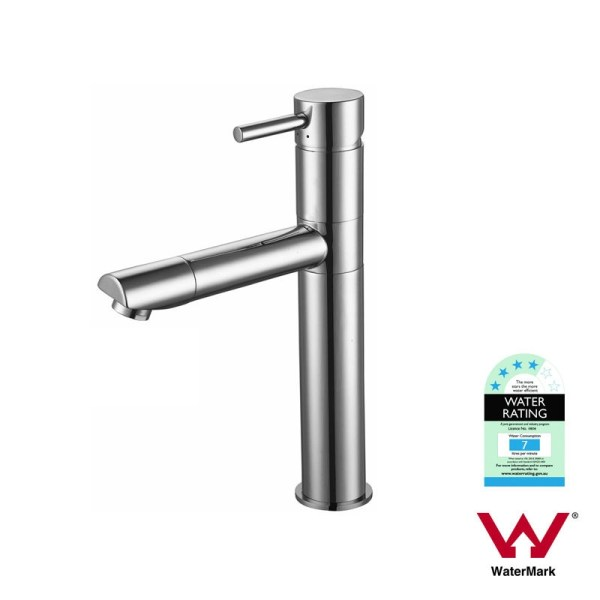 FOSCA-Round-Polished-Chrome-High-Rise-Swivel-Basin-Mixer-Tap-w-Pin-Lever-Handle-252561947093
