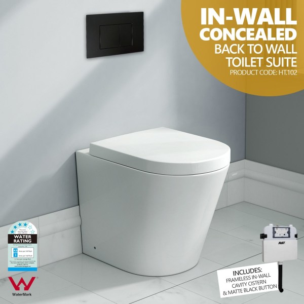 102-Round-In-Wall-Concealed-Ceramic-Back-to-Wall-Toilet-Suite-w-Black-Button-252951586264
