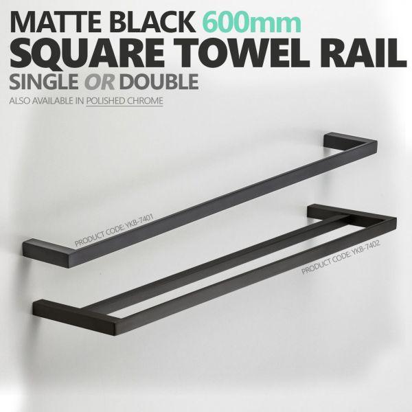 MODERN-Square-Matte-Black-600mm-Single-or-Double-Towel-Rail-Bathroom-Accessories-253826208404