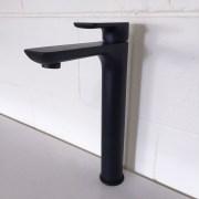 PLUSH-MATTE-BLACK-Tall-High-Rise-Bathroom-Basin-Flick-Mixer-Solid-BrassCeramic-252535978934-2