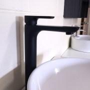 PLUSH-MATTE-BLACK-Tall-High-Rise-Bathroom-Basin-Flick-Mixer-Solid-BrassCeramic-252535978934-5