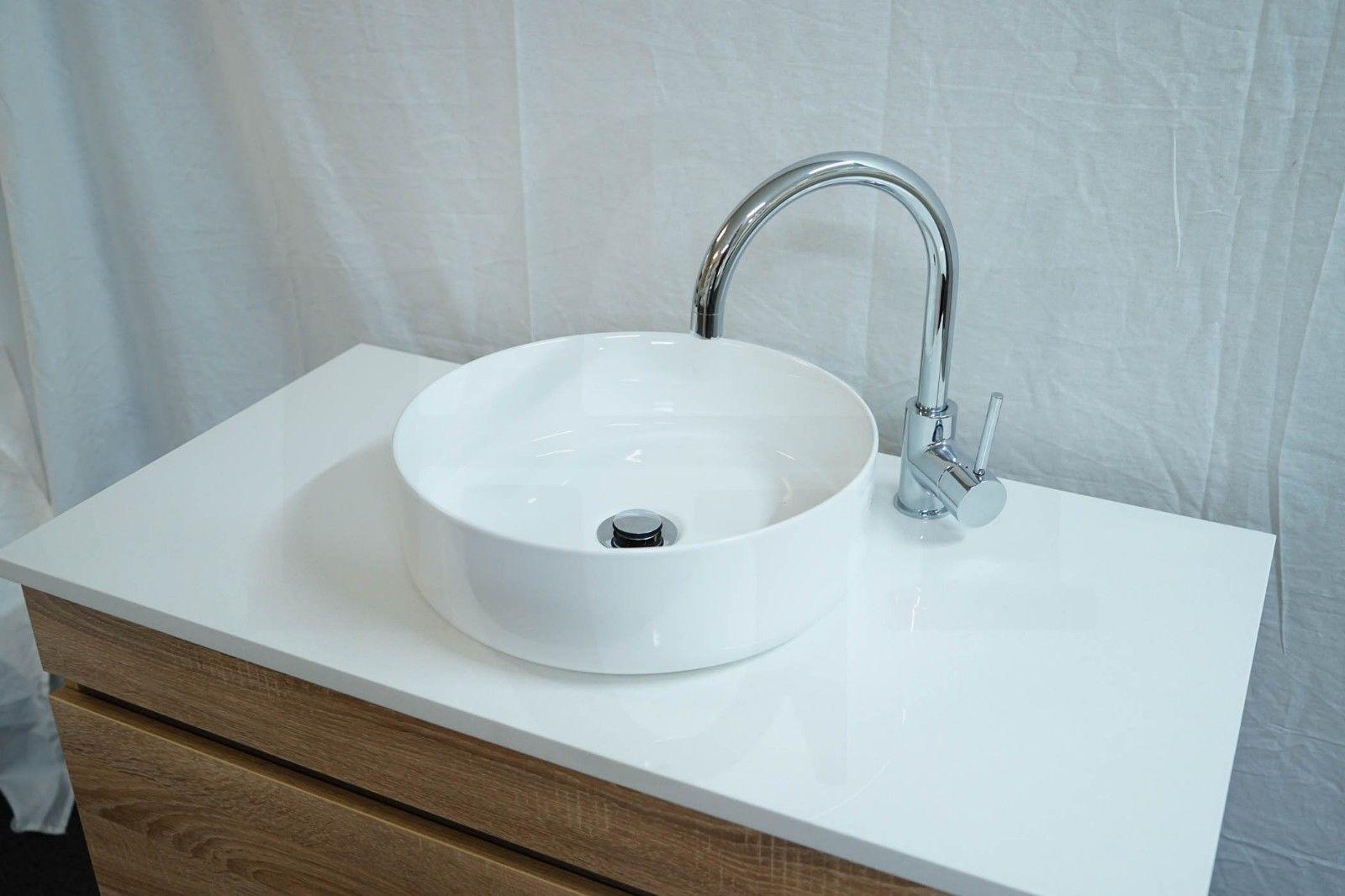 8a eve round circular gloss white ceramic above counter art basin