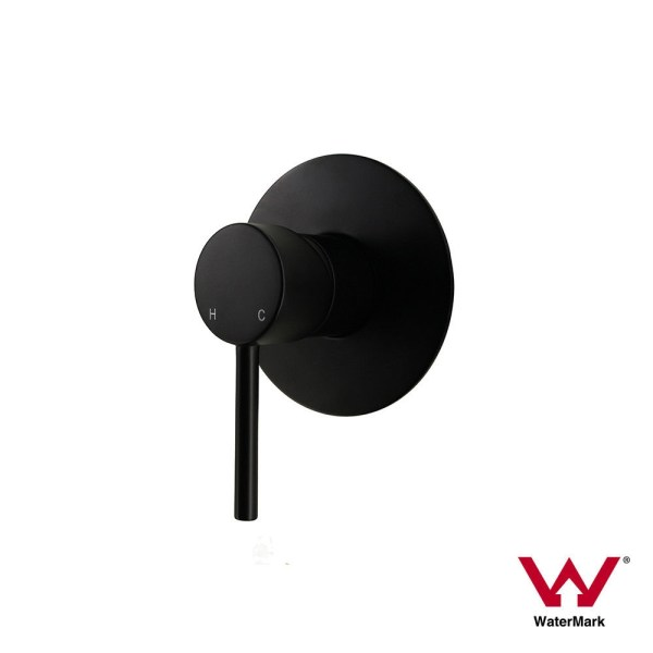 FOSCA-Premium-Grade-Round-Lollipop-Matte-Black-Ultra-Slim-Wall-Shower-Bath-Mixer-253198834546
