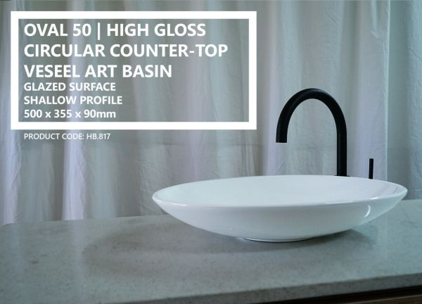 OVAL-50-Oval-Shallow-Gloss-White-Solid-Ceramic-Above-Counter-Bowl-Basin-Sink-254129244426