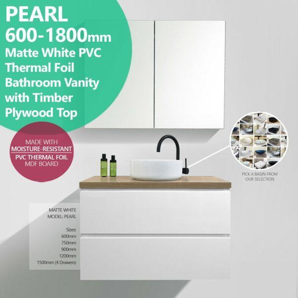 PEARL-600-1800mm-Matte-White-PVC-Thermal-Foil-Vanity-w-Oak-Timber-Plywood-Top-254612171956