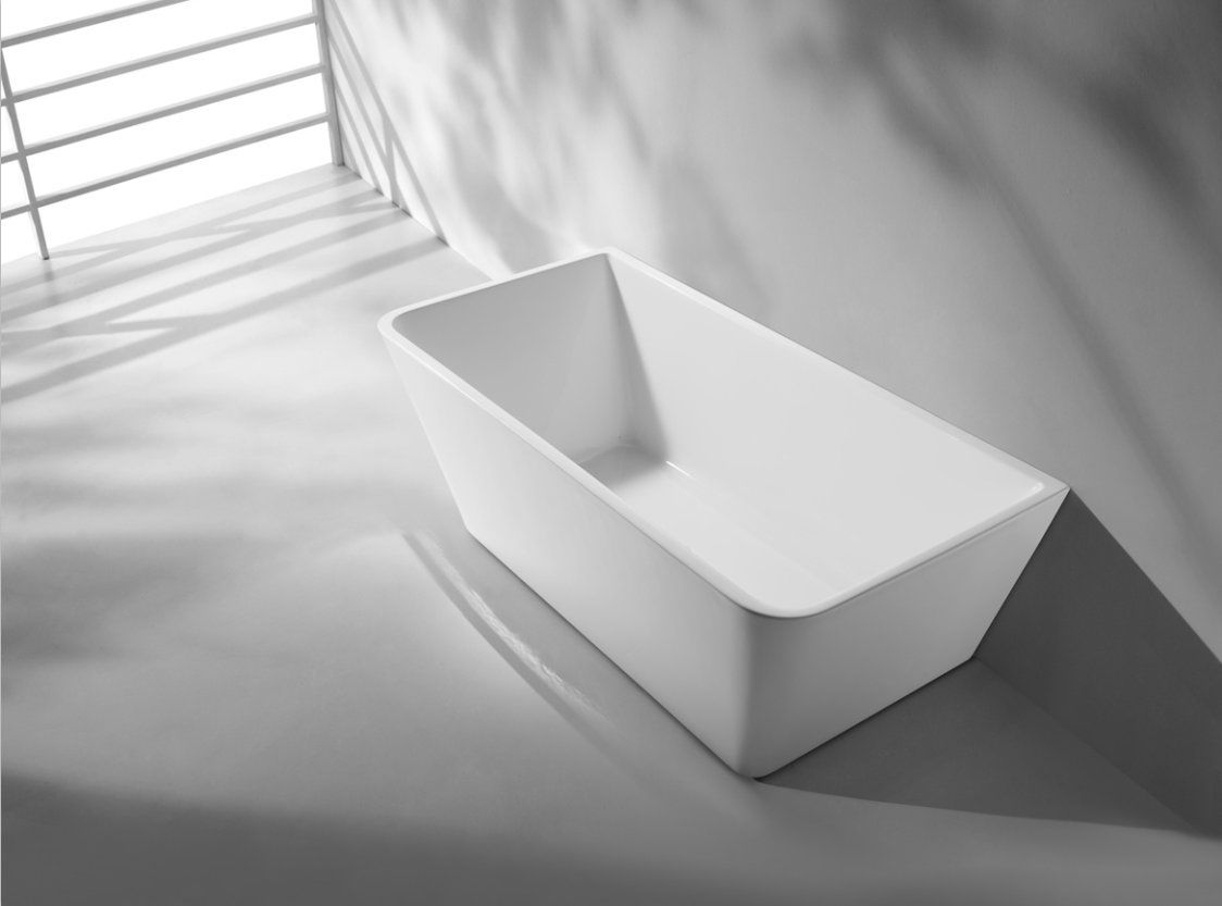 Le Carre Square Back To Wall Freestanding Acrylic Bath