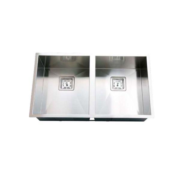 760mm-Double-Bowl-Handmade-SS-Kitchen-Sink-w-Square-Waste-Topmount-Undermount-252431442557