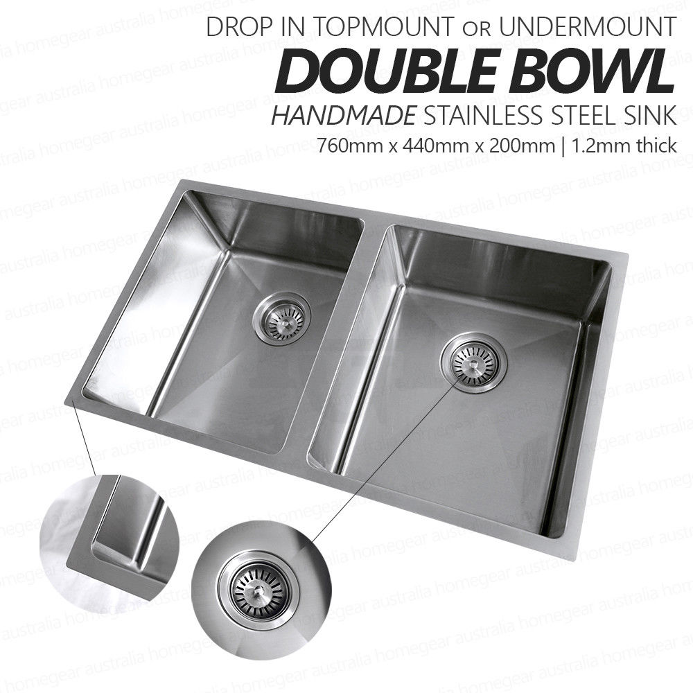 760mm double bowl handmade stainless steel sink with round waste topmount or undermount