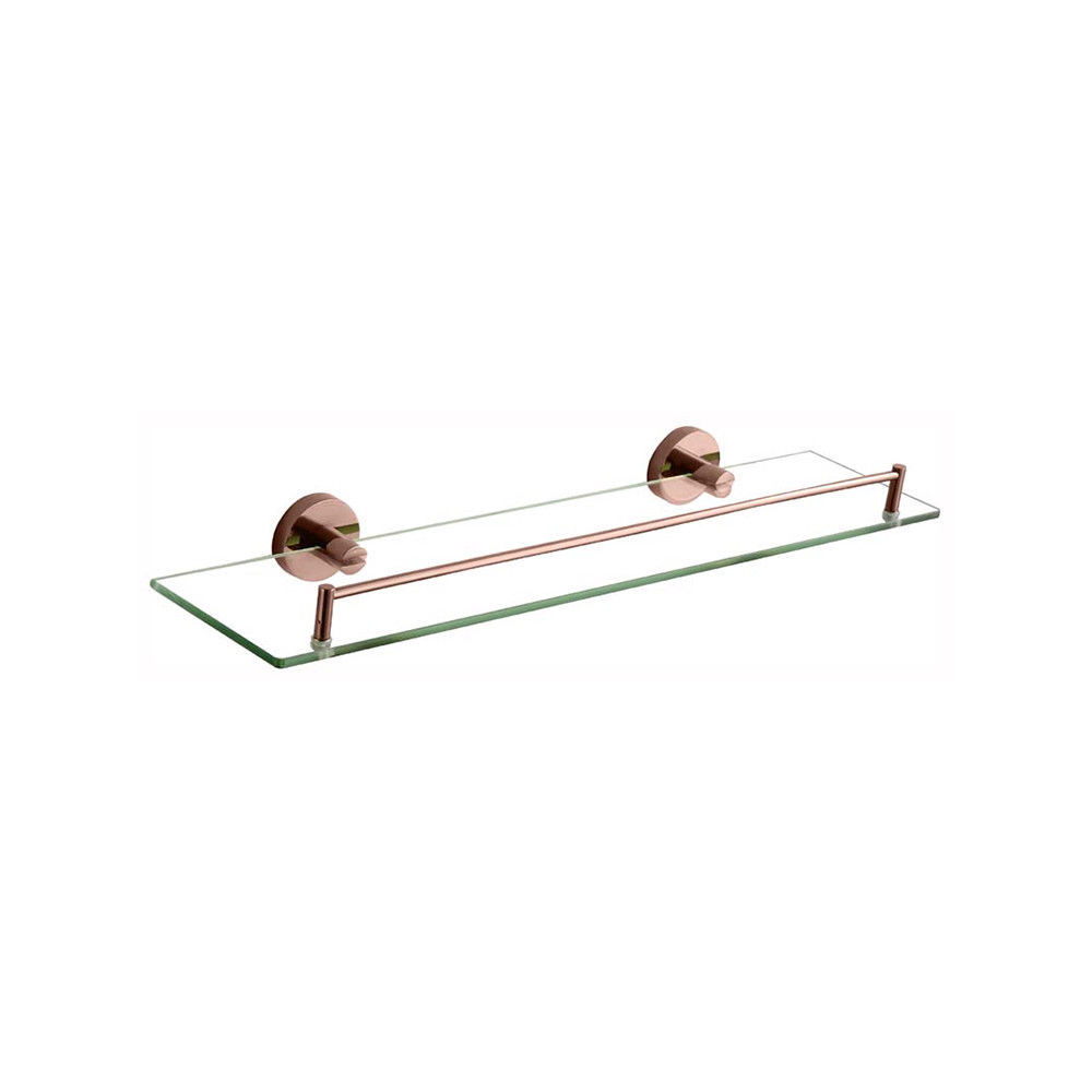 FOSCA | Round Rose Gold Wall Mounted Glass Shower Shelf / Tray | PVD  Electroplated | Homegear Australia