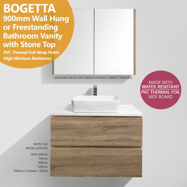 BOGETTA-900mm-White-Oak-PVC-THERMAL-FOIL-Timber-Wood-Grain-Vanity-w-Stone-Top-252859776789