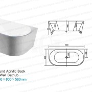 BT214 | 1500mm Round Back To Wall Freestanding Bath Specifications