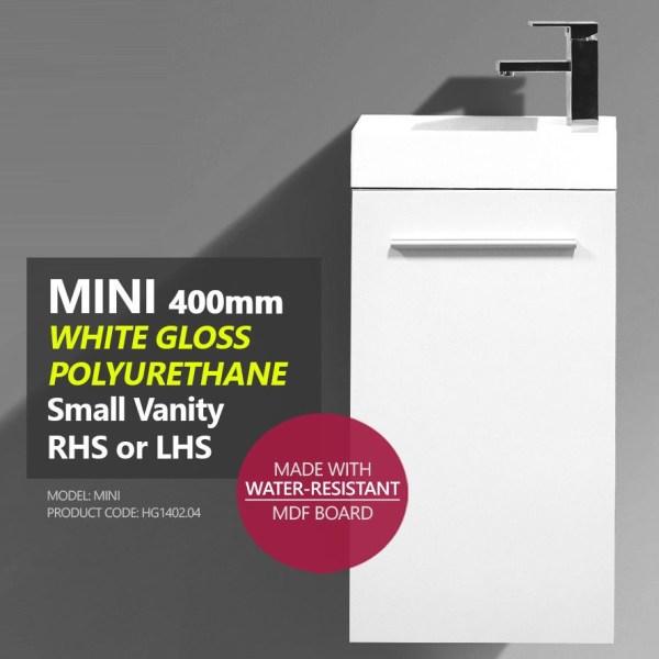MINI-Compact-400mm-White-Gloss-Polyurethane-Small-Slim-Narrow-Ensuite-Vanity-253261469289