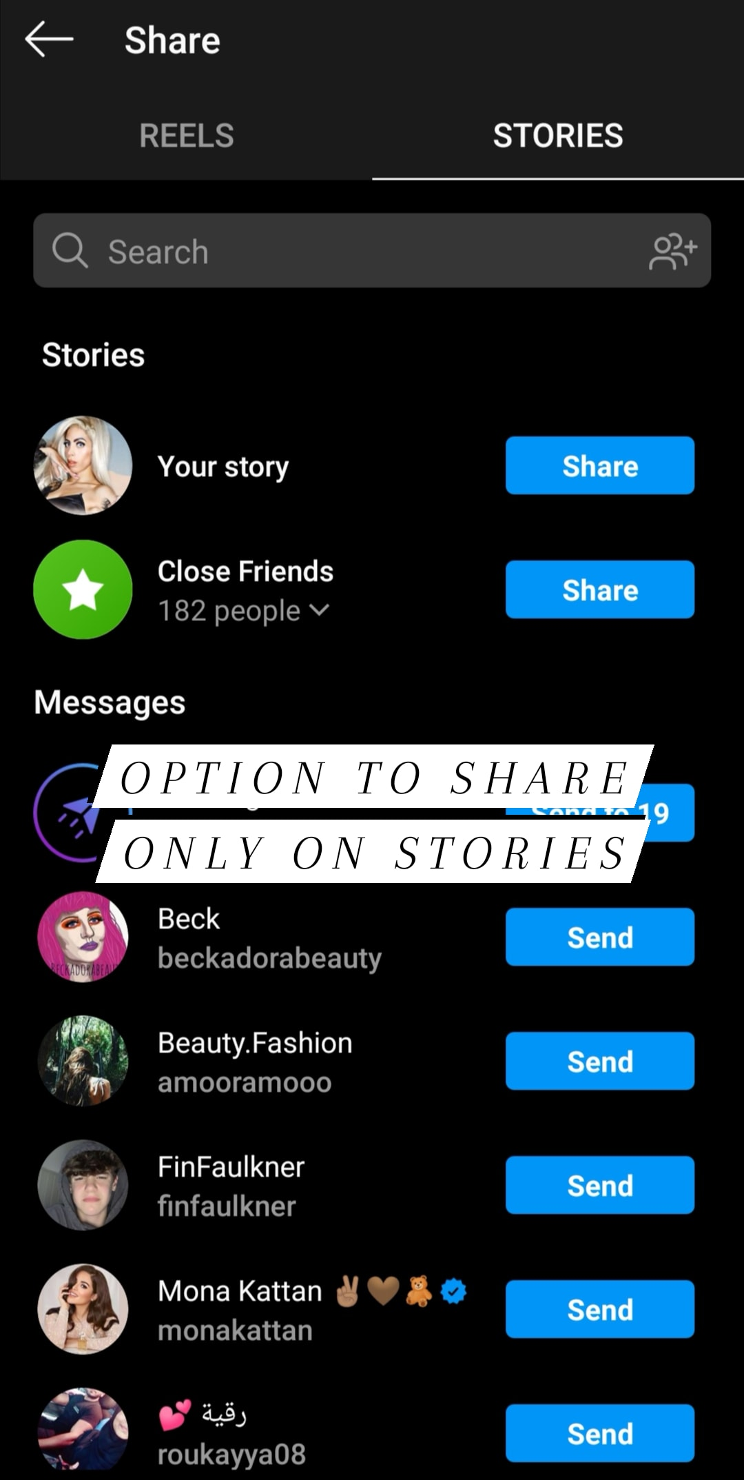Share reels on your IG story