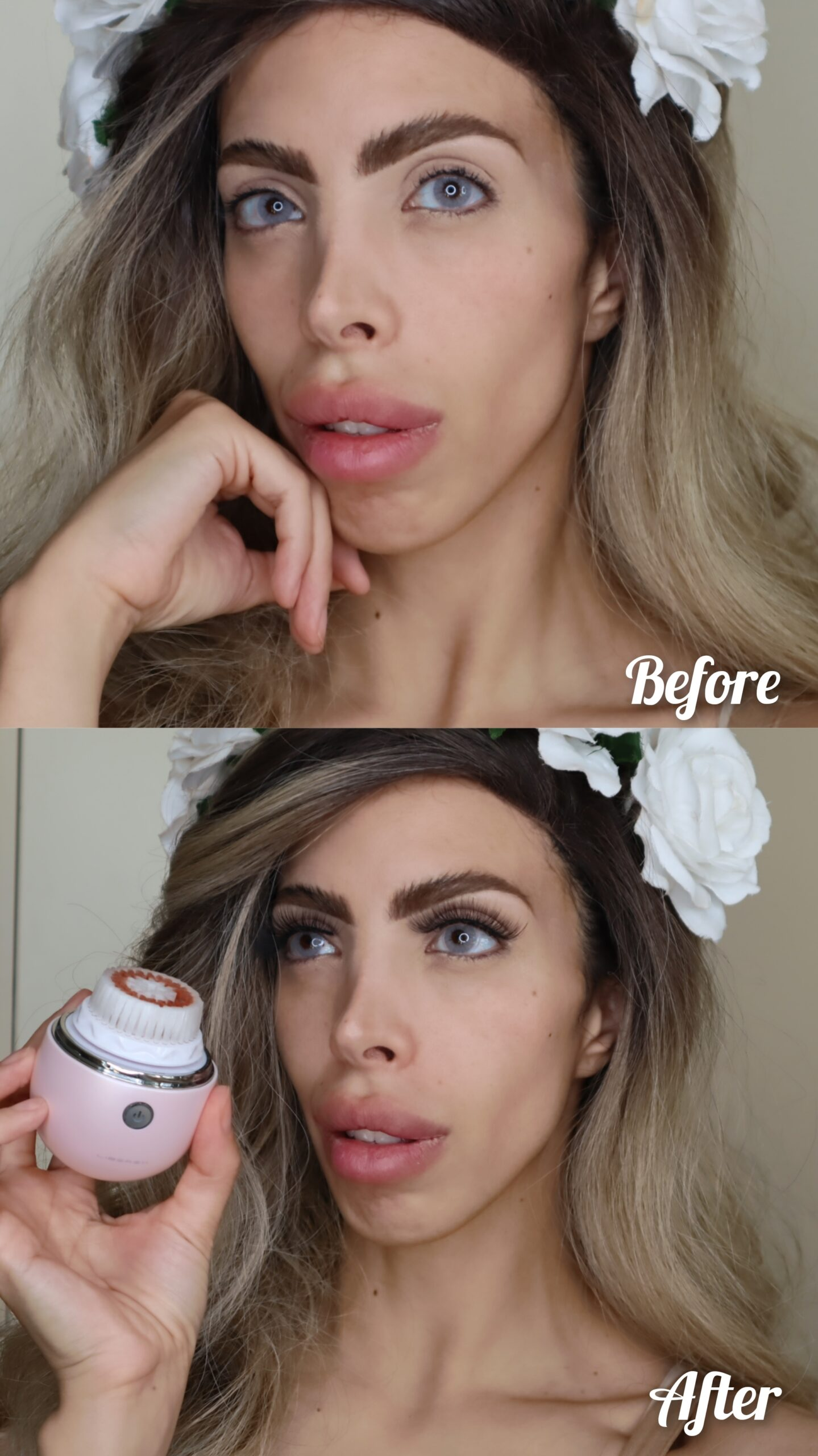 Before and After using the Liberex Egg Vibrating Facial Cleansing Brush