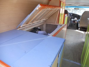 Van bed with storage underneath