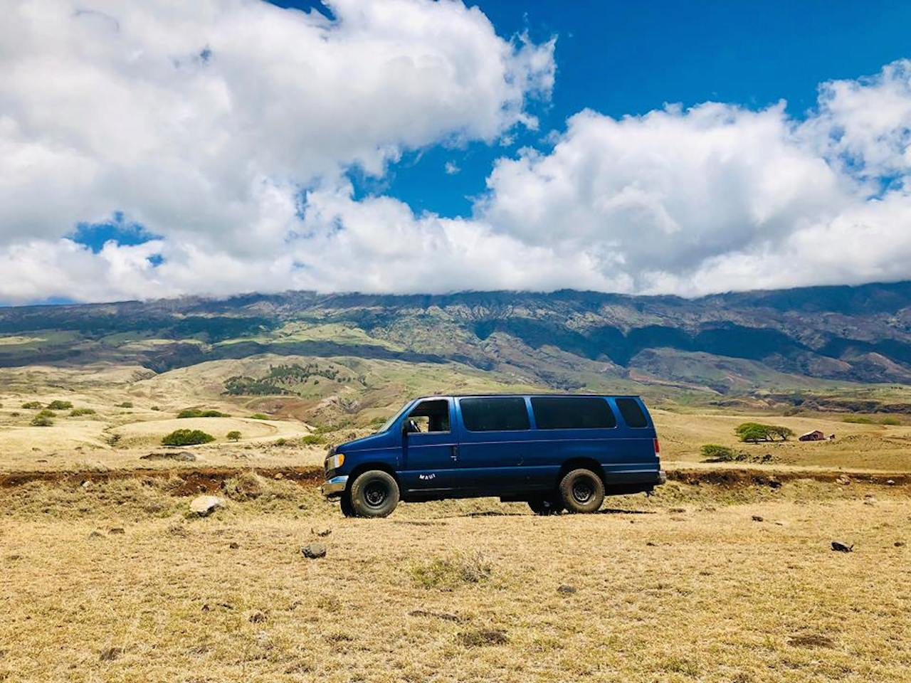 668a83d654 royal blue campervans rental maui campers vans hana highway bluesky palm  tree ford