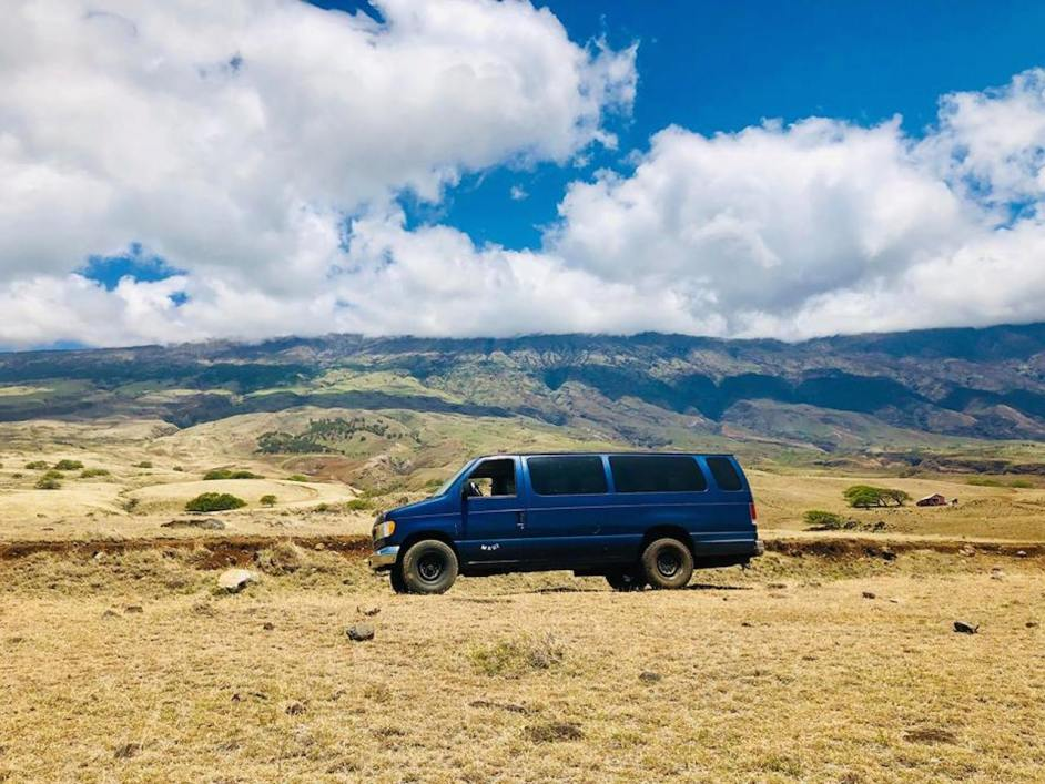 royal blue campervans rental maui campers vans hana highway bluesky palm tree ford