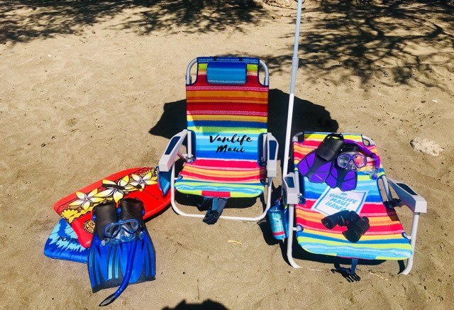snorkeling gear, water shoes, boogie boards, beach chairs, beach towels, maui campervan rentals vanlife fully equipped campers beach whales sunset dolphins