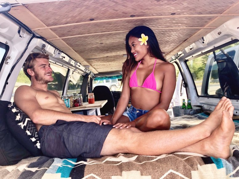 amazing human travel couple camping in maui campervan rentals supsurfing haleakala hana highway seven sacred pools waterfall black sand beach snorkeling gear all equipped