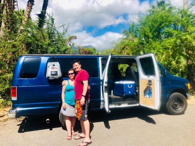 guests vanlife maui campervan rentals drop off pick up airport delivery OGG kahului couples romantic vanlife traveler