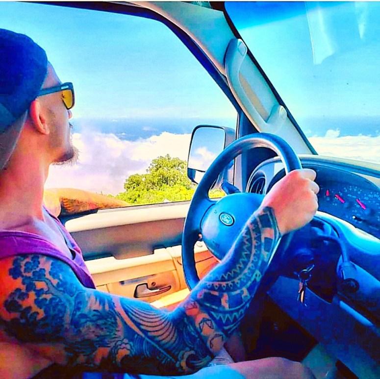 vanlife maui campervan rental cloud 9 fully equipped camper van wih solar panel sink shower snorkeling gear haleakala volcano hana road off gridguests couple from Caymen islands surfers